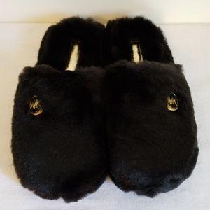 Michael Kors Black Faux Fur Slippers New